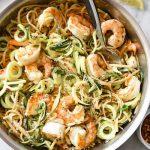 Linguine con gamberetti, zucchine e panna