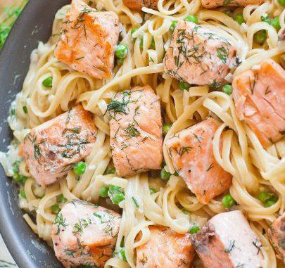 tagliatelle con salmone fresco e panna